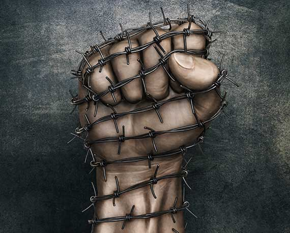 Raised fist wrapped in barbed-wire.